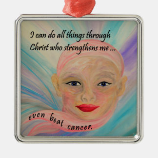 All Things Even Cancer Silver-Colored Square Ornament