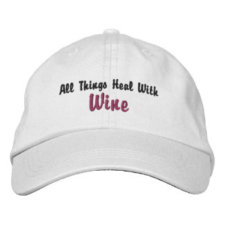 All Things Heal W Wine inspired by Wine Goddess Embroidered Hats