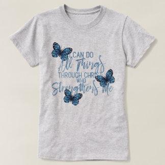 All Things Through Christ Blue Butterfly Design T-Shirt