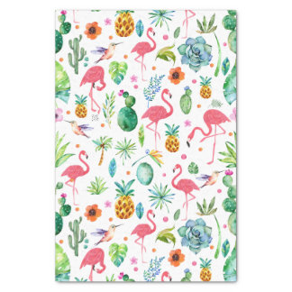 All Things Tropical & Pink Flamingos Pattern Tissue Paper