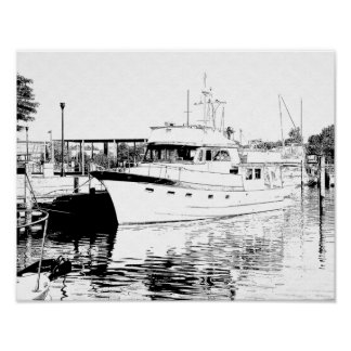 All Tied Up - Hampton Harbor -- Print