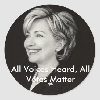 All Voices Heard, All Votes... Classic Round Sticker