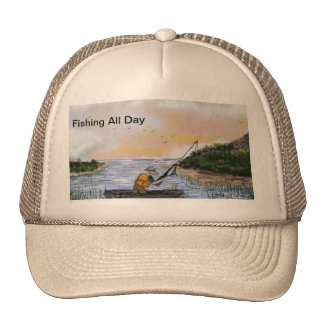 All Weather Cap,  Art Fishing All day  By Rena Trucker Hat
