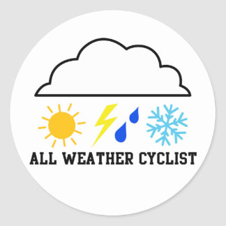 All Weather Cyclist Classic Round Sticker