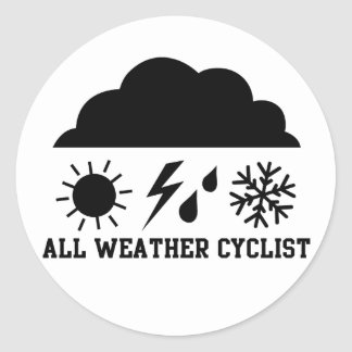 All Weather Cyclist Round Sticker