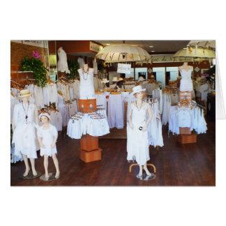 All white fashion shop card