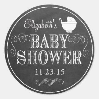 All White Typography Chalkboard Look  Baby Shower Round Sticker