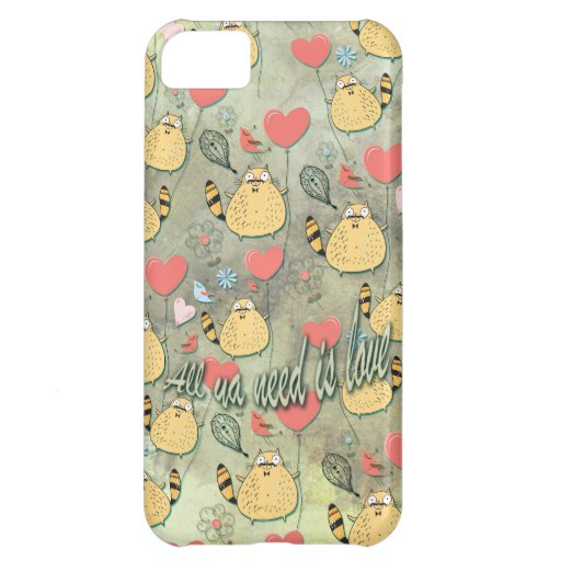 All ya need is Love Cat with mustache pattern. iPhone 5C Cover