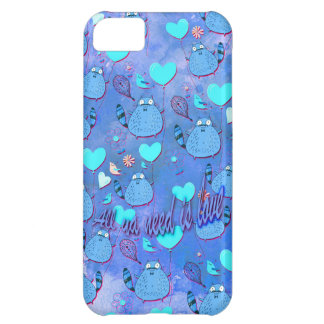 All ya need is love goofy cat artwork in blue. iPhone 5C cover