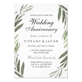 All Years Green Leaf Wedding Anniversary Invite