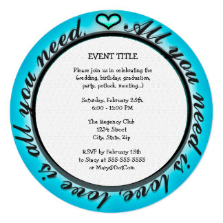 "All You Need is Love 5.25"" Square Invitation Card"