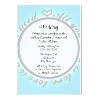 "All You Need is Love 5"" X 7"" Invitation Card"