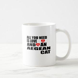 ALL YOU NEED IS LOVE AEGEAN CAT DESIGNS COFFEE MUG