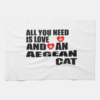 ALL YOU NEED IS LOVE AEGEAN CAT DESIGNS KITCHEN TOWEL