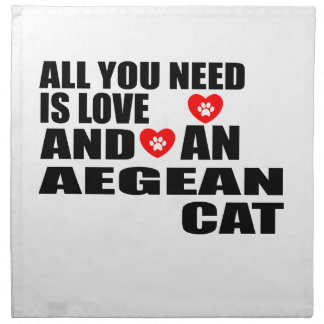 ALL YOU NEED IS LOVE AEGEAN CAT DESIGNS NAPKIN