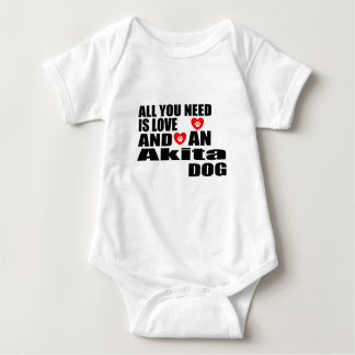 ALL YOU NEED IS LOVE Akita DOGS DESIGNS Baby Bodysuit