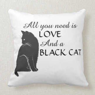 All you need is LOVE and a BLACK CAT Black & White Throw Pillow