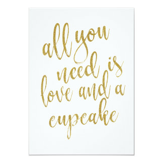 All you need is love and a cupcake affordable sign card