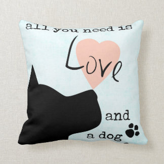 all you need is love and a dog pink blue pit bull throw pillow