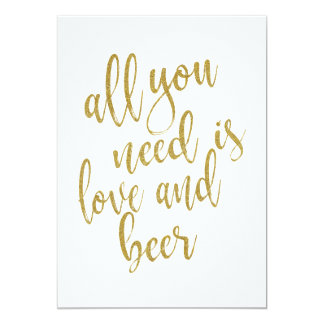 All you need is love and beer affordable sign card