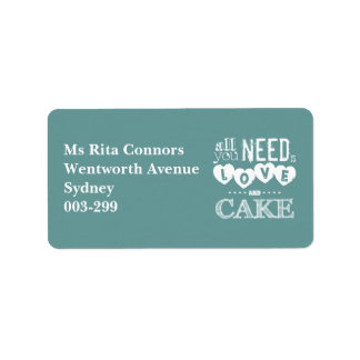 All You Need is Love and Cake Label