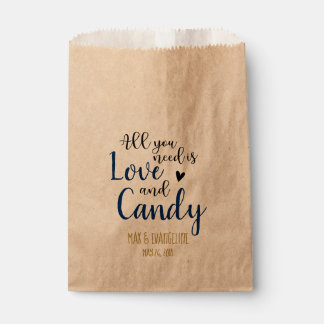 All You Need Is Love and Candy Navy and Gold Favour Bag