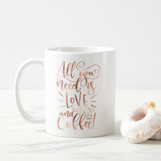 All You Need is Love and Coffee Mug Faux Copper