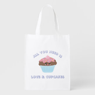 All You Need Is Love And Cupcakes Pastel Colors Reusable Grocery Bag