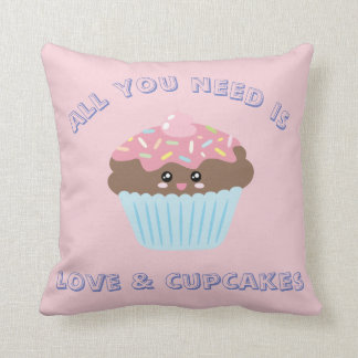 All You Need Is Love And Cupcakes Pastel Colors Throw Pillow