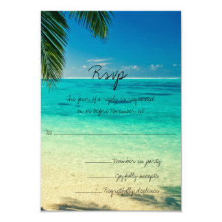 "All You Need Is Love and The Beach Wedding RSVP 3.5"" X 5"" Invitation Card"