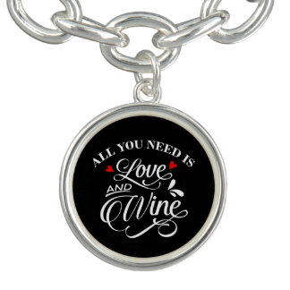 All You Need is Love and Wine Chalkboard Charm Bracelet