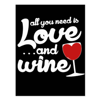 All you need is love and wine postcard