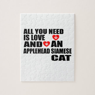 ALL YOU NEED IS LOVE APPLEHEAD SIAMESE CAT DESIGNS JIGSAW PUZZLE