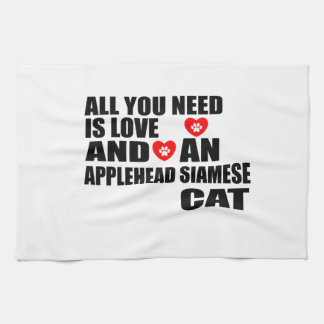 ALL YOU NEED IS LOVE APPLEHEAD SIAMESE CAT DESIGNS KITCHEN TOWEL