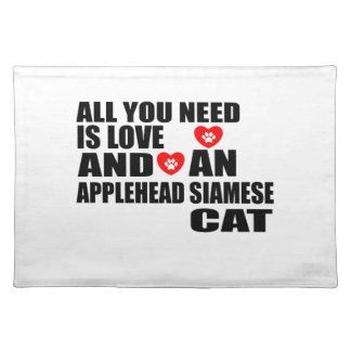 ALL YOU NEED IS LOVE APPLEHEAD SIAMESE CAT DESIGNS PLACEMAT