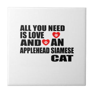 ALL YOU NEED IS LOVE APPLEHEAD SIAMESE CAT DESIGNS TILE