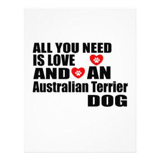 ALL YOU NEED IS LOVE Australian Terrier DOGS DESIG Letterhead