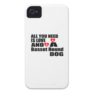ALL YOU NEED IS LOVE Basset Hound DOGS DESIGNS Case-Mate iPhone 4 Cases