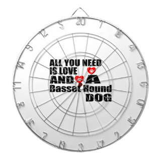 ALL YOU NEED IS LOVE Basset Hound DOGS DESIGNS Dartboard