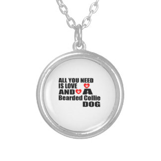 ALL YOU NEED IS LOVE Bearded Collie DOGS DESIGNS Silver Plated Necklace