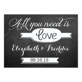 "All You Need Is Love Chalkboard Wedding Collection 4.5"" X 6.25"" Invitation Card"