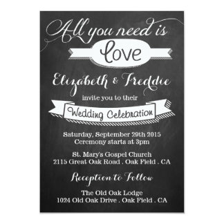 "All You Need Is Love Chalkboard Wedding Collection 5"" X 7"" Invitation Card"