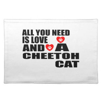 ALL YOU NEED IS LOVE CHEETOH CAT DESIGNS PLACEMAT