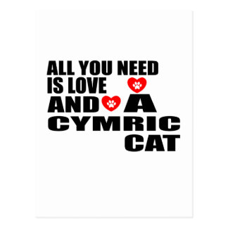 ALL YOU NEED IS LOVE CYMRIC CAT DESIGNS POSTCARD