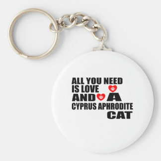 ALL YOU NEED IS LOVE CYPRUS APHRODITE CAT DESIGNS KEYCHAIN