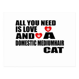 ALL YOU NEED IS LOVE DOMESTIC MEDIUMHAIR CAT DESIG POSTCARD