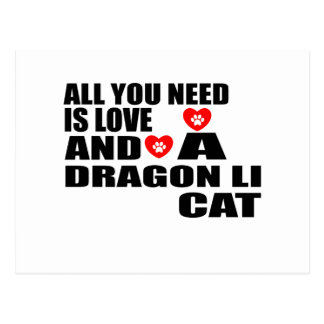 ALL YOU NEED IS LOVE DRAGON LI CAT DESIGNS POSTCARD