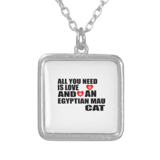 ALL YOU NEED IS LOVE EGYPTIAN MAU CAT DESIGNS SILVER PLATED NECKLACE