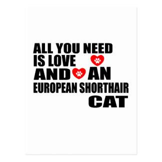 ALL YOU NEED IS LOVE EUROPEAN SHORTHAIR CAT DESIGN POSTCARD