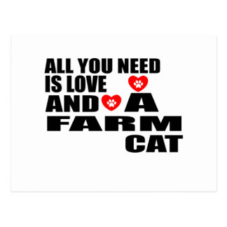 ALL YOU NEED IS LOVE FARM CAT DESIGNS POSTCARD